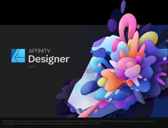Affinity Designer 1.7.1 起動画面